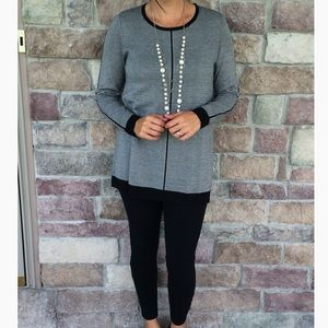 Foxcroft Black and White Striped Buttoned Sweater